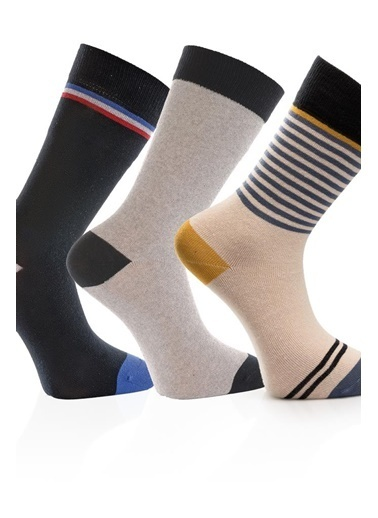 Miorre 3'lü  Desenli Erkek Çorap Renkli
